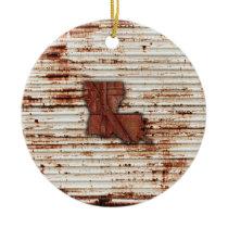 Red Rust Louisiana Shape Ceramic Ornament