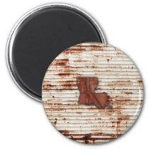 Red Rust Louisiana Shape Magnet