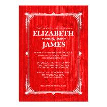 Red Rustic Barn Wood Wedding Invitations