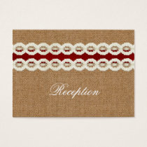 Red Rustic burlap and lace country wedding Business Card