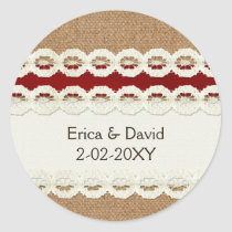 Red Rustic burlap and lace country wedding Classic Round Sticker