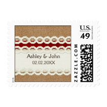 Red Rustic burlap and lace country wedding Postage