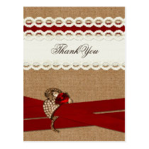 Red Rustic burlap and lace country wedding Postcard