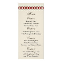 Red Rustic burlap and lace country wedding Rack Card