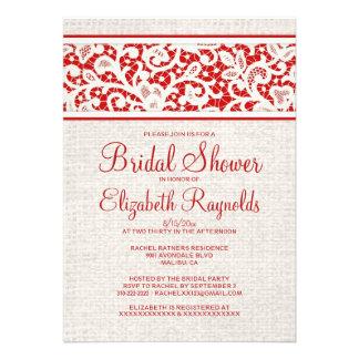 Red Rustic Burlap Linen Bridal Shower Invitations Invites