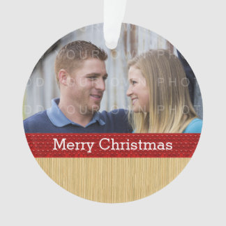 Red Rustic Christmas Photo Ornament