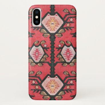Red Rustic Ethnic Tribal Boho Kilim Pattern iPhone XS Case