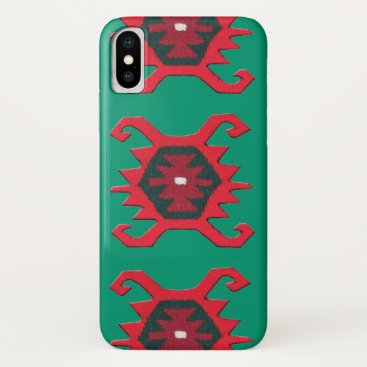 Red Rustic Ethnic Tribal Boho Pattern on Green iPhone XS Case