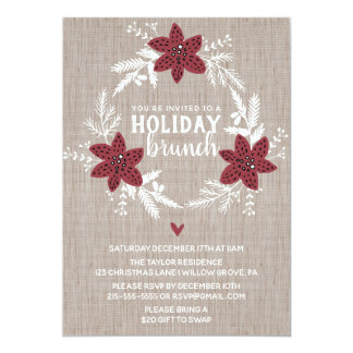 Red Rustic Floral Holiday Brunch Party Card