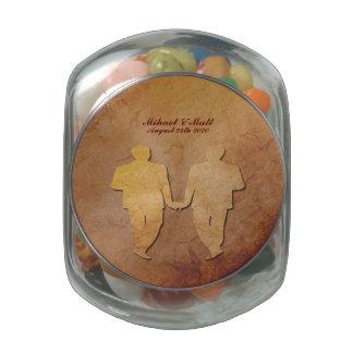 Red Rustic Gay Wedding Favor Jelly Belly Jar Glass Jar