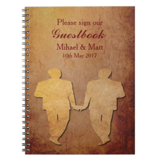 Red Rustic Gay Wedding Guestbook Notebook