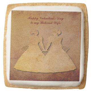 Red Rustic Gay Wife Valentine Shortbread Cookies
