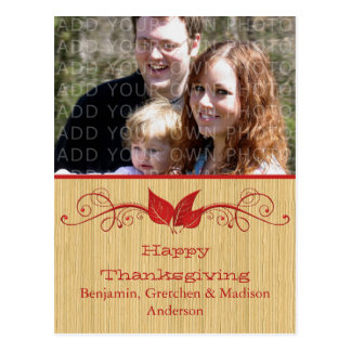 Red Rustic Leaves Thanksgiving Photo Postcard