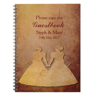 Red Rustic Lesbian Wedding Guestbook Notebook