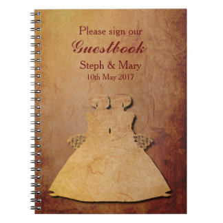 Red Rustic Lesbian Wedding Guestbook Spiral Notebook