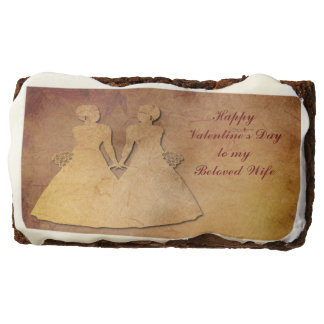 Red Rustic Lesbian Wife Valentine Gift Brownies