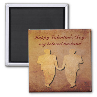 Red Rustic Paper Gay Husband Valentine Magnet