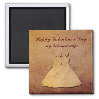 Red Rustic Paper Lesbian Wife Valentine Magnet
