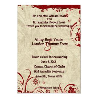Red Rustic Parchment Swirl Wedding Invitations