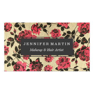 Red Rustic Roses on Faux Gold Double-Sided Standard Business Cards (Pack Of 100)
