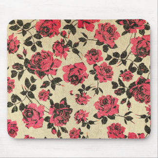 Red Rustic Roses on Faux Gold Mouse Pad