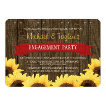 RED RUSTIC SUNFLOWER ENGAGEMENT PARTY CARD