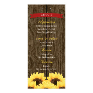 RED RUSTIC SUNFLOWER MENU CARD