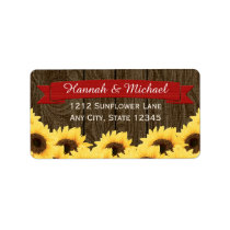 RED RUSTIC SUNFLOWER RETURN ADDRESS LABEL