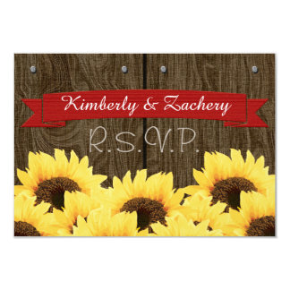 RED RUSTIC SUNFLOWER RSVP CARD