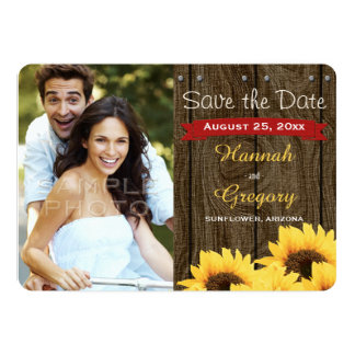 RED RUSTIC SUNFLOWER SAVE THE DATE CARD PERSONALIZED INVITATIONS
