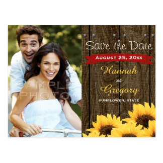 RED RUSTIC SUNFLOWER SAVE THE DATE POSTCARD