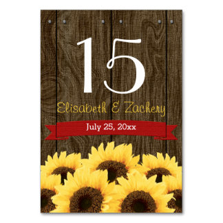 RED RUSTIC SUNFLOWER TABLE NUMBER CARD