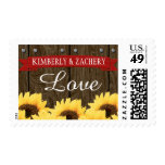 RED RUSTIC SUNFLOWER WEDDING LOVE POSTAGE