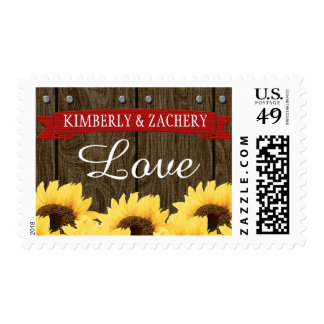 RED RUSTIC SUNFLOWER WEDDING LOVE POSTAGE STAMP