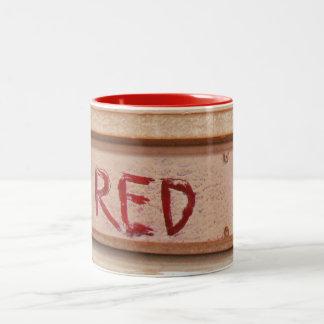 Red rustic ute tailgate tail light Two-Tone coffee mug