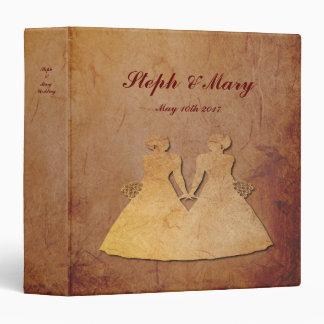 Red Rustic Vintage Lesbian Wedding Album 3 Ring Binders
