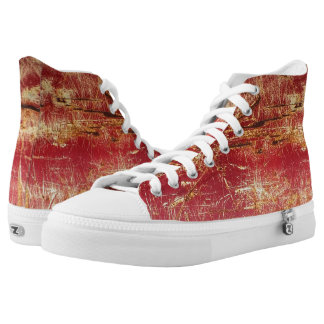 Red Rusty Gold Abstract Hightop ZIPZ Printed Shoes