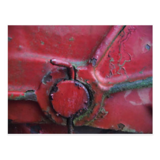 Red rusty truck close-up postcard