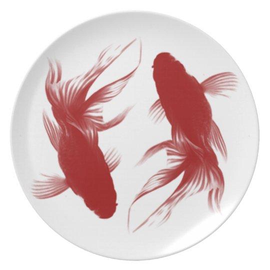 Red Ryukin Goldfish Dinner Plate