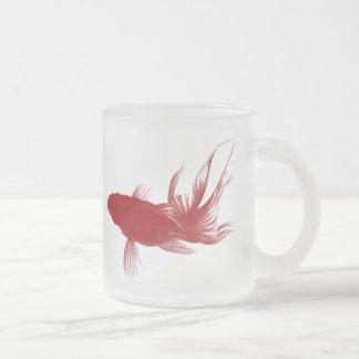 Red Ryukin Goldfish Frosted Glass Coffee Mug