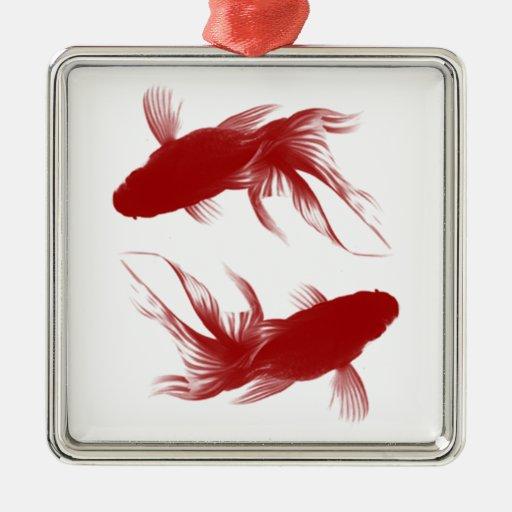 Red Ryukin Goldfish Metal Ornament