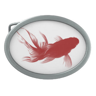 Red Ryukin Goldfish Oval Belt Buckle