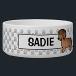 "Red Sable Long Coat Dachshund Cartoon Dog Bowl<br><div class=""desc"">This item has Destei&#39;s original cartoon illustration of a cute long coat red sable color Dachshund breed dog.</div>"