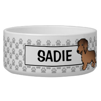 Red Sable Long Coat Dachshund Cartoon Dog Bowl