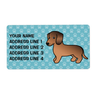 Red Sable Smooth Coat Dachshund Personalized Shipping Labels
