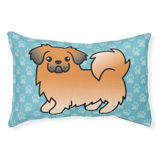 Red Sable Tibetan Spaniel Cartoon Dog Pet Bed