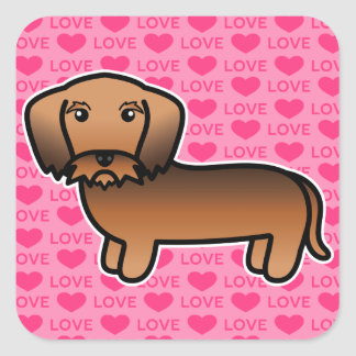 Red Sable Wirehaired Dachshund Cartoon Dog Square Sticker