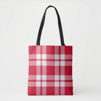 Red Saddle Blanket Plaid Tote Bag