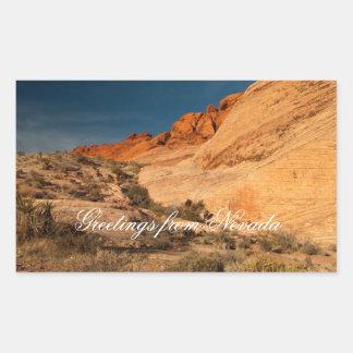 Red Saddle Rocks; Nevada Souvenir Rectangle Stickers