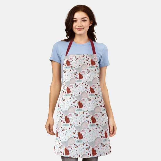Red & Sage Green Cute Whimsical Christmas Mouse Apron